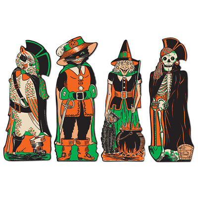 4 HALLOWEEN Party Decoration FANCI DRESSED CUTOUTS Vintage Beistle 1950 Repro - Halloween Decor Wholesale