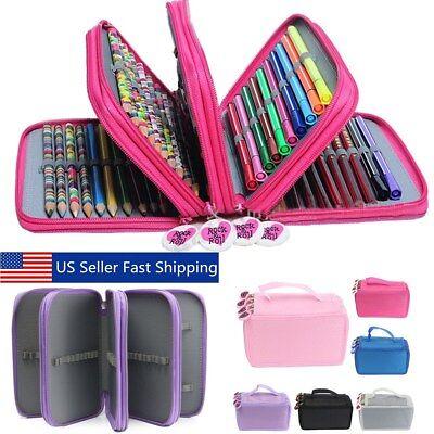 4 Layers 75 Pencil Case Bag Organizer Storage Large Capacity Pen Case Holder (Art Supply Bag)