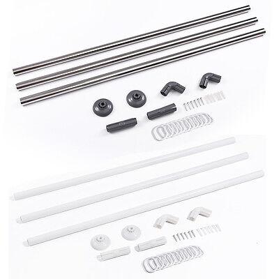 Stainless Steel Adjustable U L Shape Corner Shower Curtain Rod Pole Rail Track ()