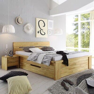 SALERNO Doppelbett mit Schubläden 180x200 Eiche Wildeiche massiv geölt