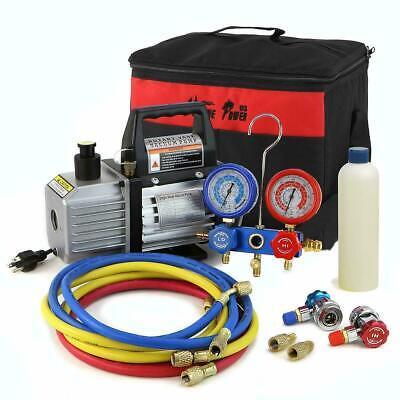 1//4HP 2.5CFM Rotary Vane Vacuum Pump+Testing Charging R134A Manifold Gauge Hose