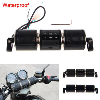 Black MP3 FM ATV Radio Sound System Stereo Speaker Waterproof For Motorcycle