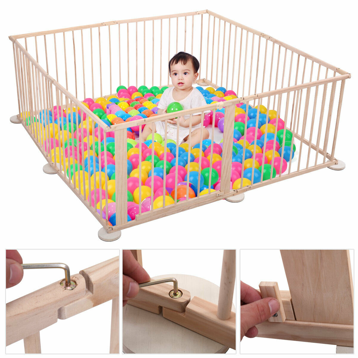 8 Panel Baby Playpen Foldable Wooden Frame Kids Play Center
