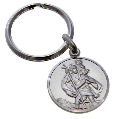 STERLING SILVER ST SAINT CHRISTOPHER KEYRING KEY CHAIN FOB & GIFT BOX Angel Sterling Silver Keychain