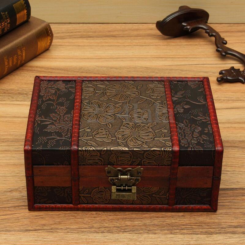 Vintage Wood Treasure Lock Chest Wooden Jewelry Storage Box Case Organizer