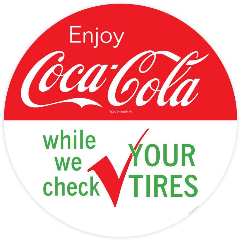 Enjoy Coca-Cola While We Check Your Tires Decal 24 x 24 Coke Wall Decor
