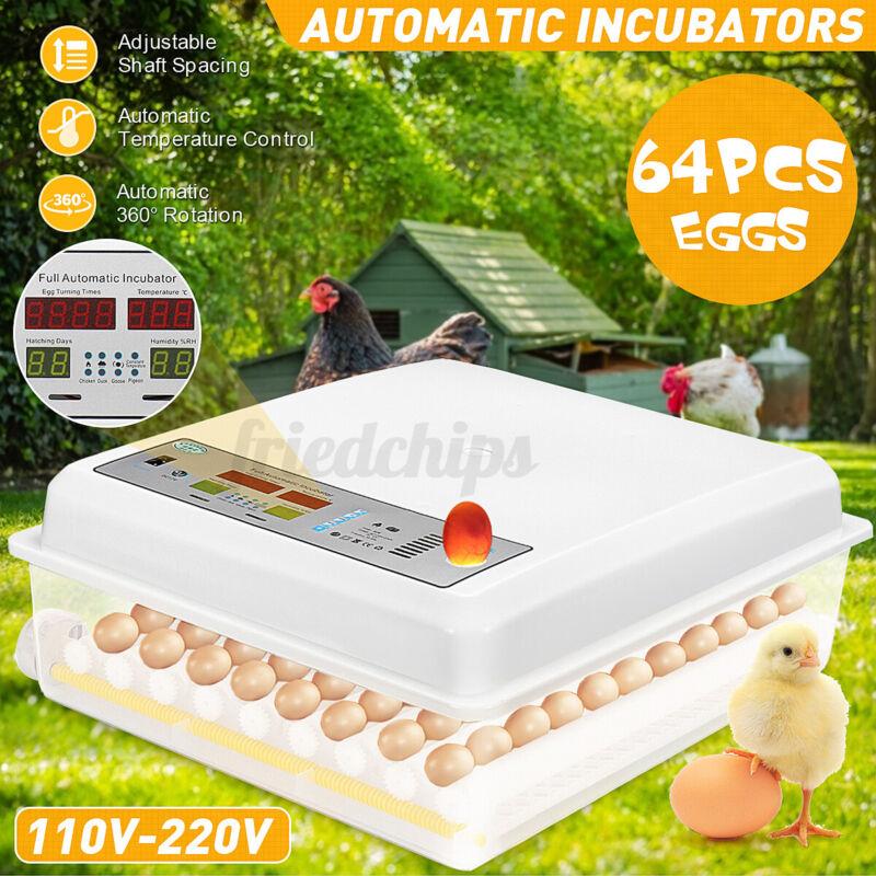 US 64Eggs Digital Egg Hatcher 110-220V+12V Fully Auto Poultry Incubator Machine