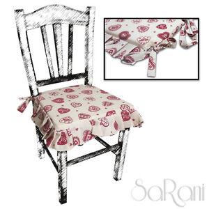 Coprisedia 2 o 6 cuscini sedia con lacci shabby chic for Cuscini per sedie shabby chic