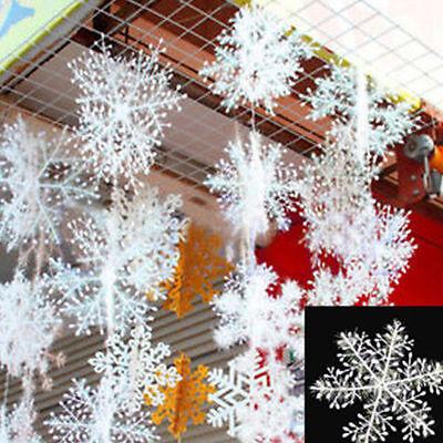 30PCS Plastic Christmas White Snowflakes Xmas Tree Decorations Ornaments Party - White Plastic Snowflakes