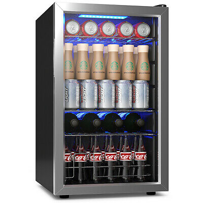 76 Can Beverage Refrigerator Cooler W Glass Door Stainless Steel Soda Beer Wine