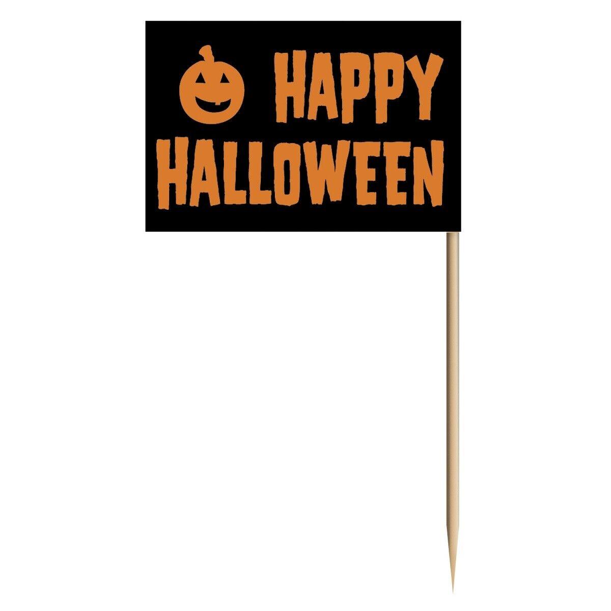 50 Deko-Picker Happy Halloween Picks Party Deko Zahnstocher mit Fähnchen Buffet