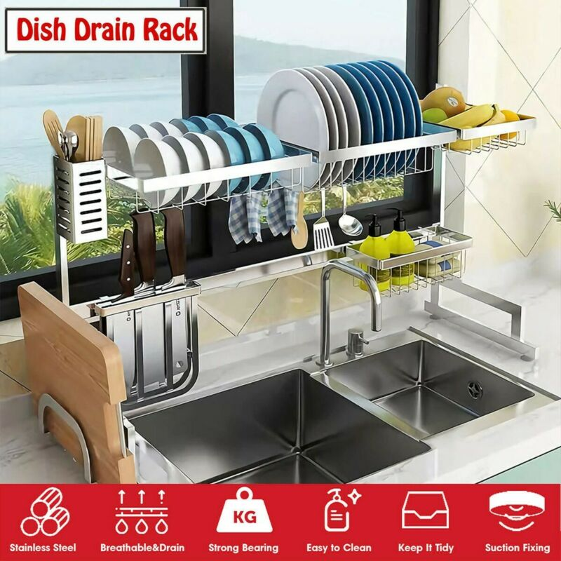 3-Tier Dish Drying Rack Stainless Steel Over Sink Drainer Sh