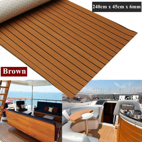 240cm x 45cm x 6mm EVA Foam Teak Sheet Marine Flooring Decking Self-Adhesive