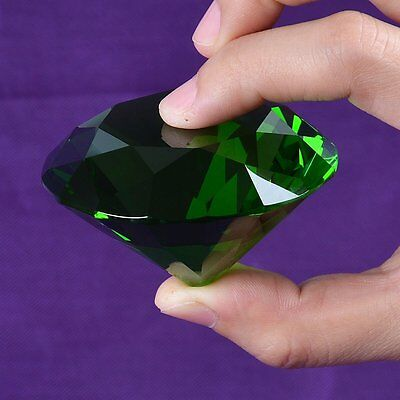 Green 60mm 2.3 Inch Glass Diamond Shaped Paperweight