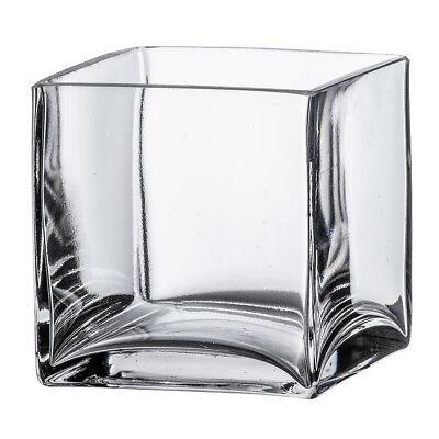 "4"" Square Clear Glass Vase - Cube Centerpiece 4x4x4 Wedding Decoration Handmade"