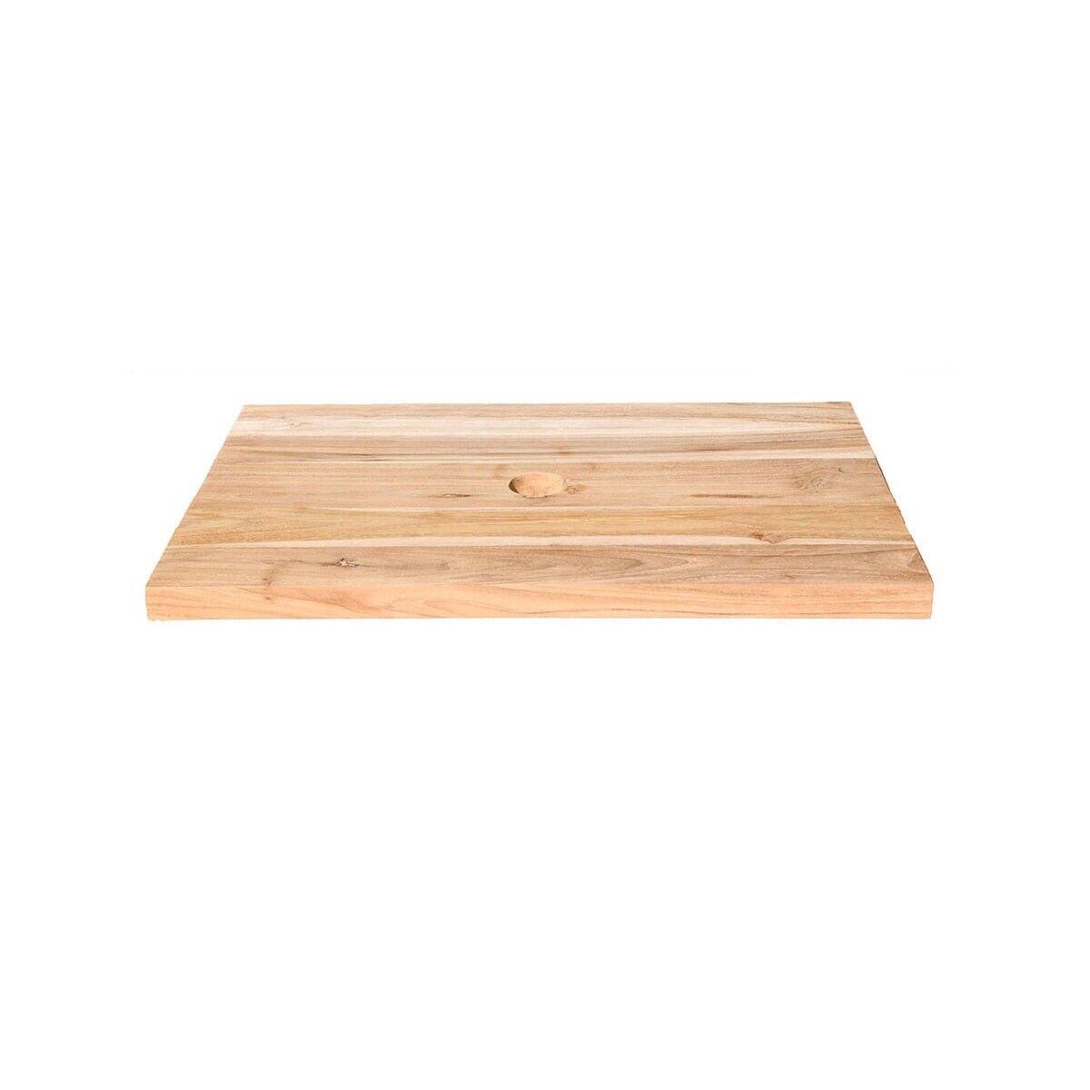 WOHNFREUDEN Holz Waschtisch-platte aus Teakholz 60 x 40 x 3 cm geschliffen