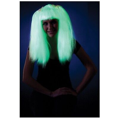 Glow in the Dark Pigtails Wig Adult Rave Long Straight Halloween Costume Acsry - Halloween Pigtails
