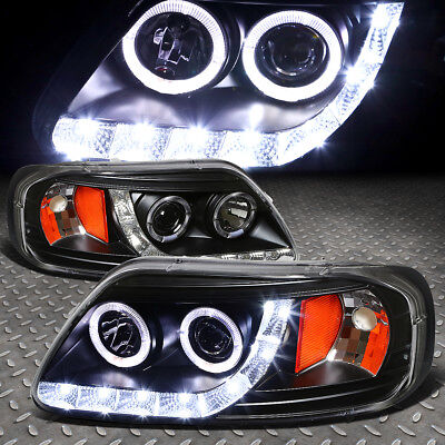 HALO RINGSLED DRL FOR 1997 2003 FORD F150 BLACK AMBER PROJECTOR HEADLIGHTS