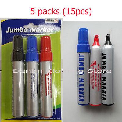 5 Packs 15pcs Pilot Jumbo Permanent Marker Assorted Colors Black Red Blue Lot