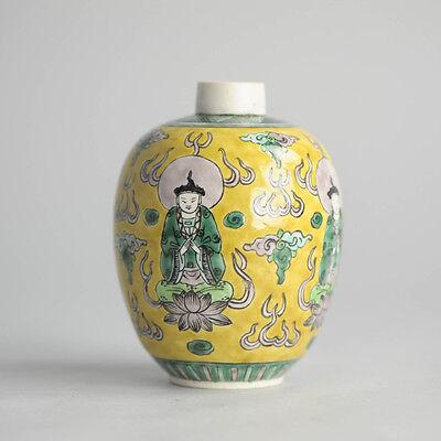Antique ca 1900 Qing Thai Market Vase Taoist Chinese Porcelain China Old Rare