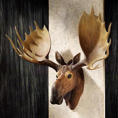 Alaskan Moose Trophy Faux Head Antlers Wall Hand Painted Man Den Hunter Cabin  Hand Painted Moose