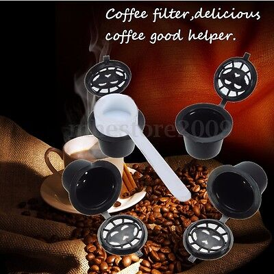 4 Refillable/Reusable Coffee Capsules Pod Stainless Steel Filters For Nespresso