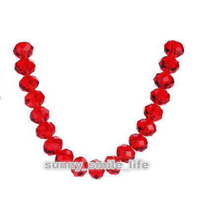 30pcs Red Glass 5040# Crystal Faceted Rondelle Spacer Loose Beads 8x6mm DIY