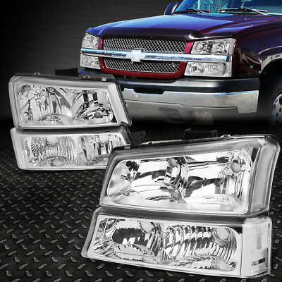 FOR 2003 2006 CHEVY SILVERADO CHROME HOUSING CLEAR SIDE HEADLIGHTLAMP SET 4PCS