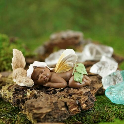 Fairy Garden Ebony Baby Fairy Figurine & Squirrel Top Land Trading New