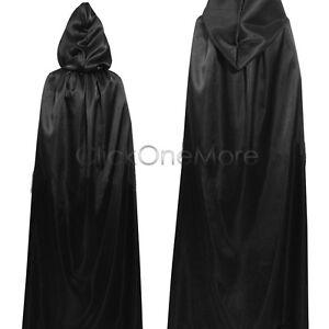 MON - Deluxe Black Hooded Cloak Cape Long Vampire Halloween Fancy Dress UK Stock