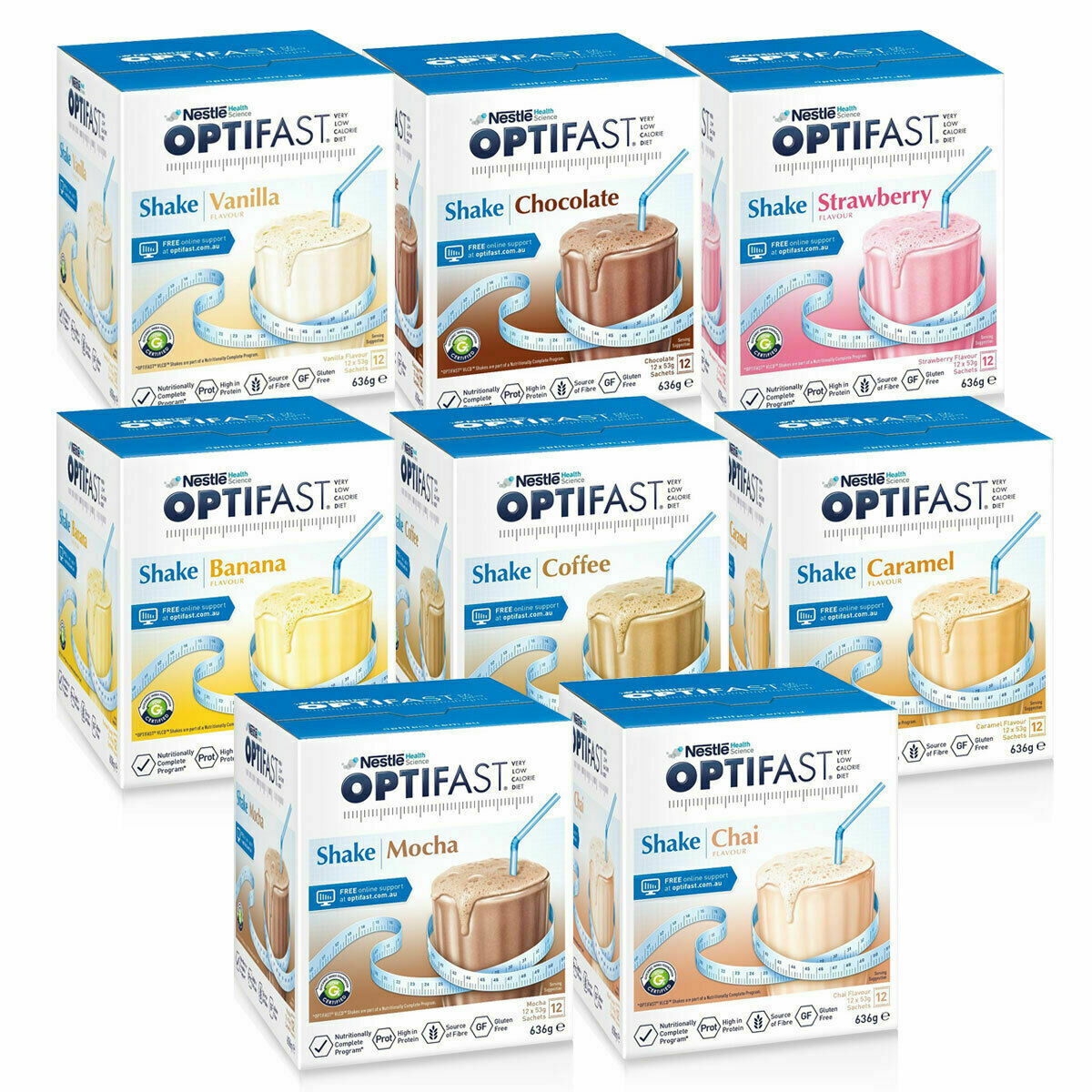 Optifast VLCD Weight Loss Diet Milk Shake : ALL FLAVOURS: 12 sachets +