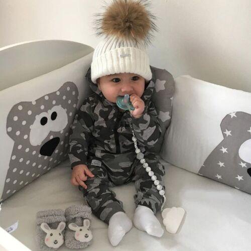 Newborn Baby Boy Girl Long Camo Romper Bodysuit Jumpsuit Playsuit Clothes Outfit