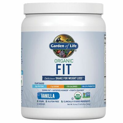 Garden of Life Organic Fit Weight Loss Drink Mix VANILLA 16.4 oz Best By