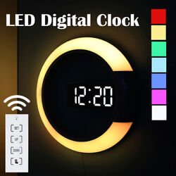 Remote Control LED Digital Wall Clock Round Hollow 7 Color Time Night Backlight