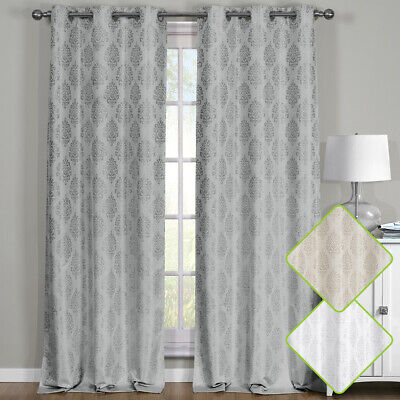 Paisley Thermal Blackout Curtain Panels Grommet Top Window Jacquard Curtain -