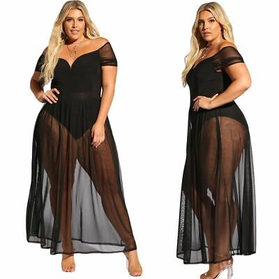 Allure Lingerie (Sexy Women's Plus Size Black Dress Bodysuit With Sheer Mesh Allure Lingerie )