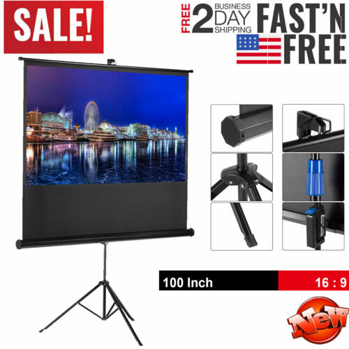 "100"" 4K Portable Projector Screen with Stand Tripod In/Outdo"