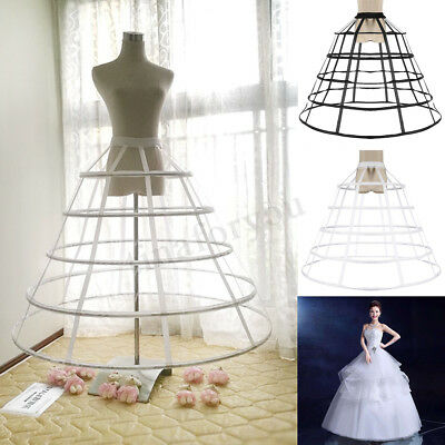5 Hoop Lady Dress Crinoline Birdcage Cage Petticoat Pannier Bustle Adjustable - Cage Petticoat