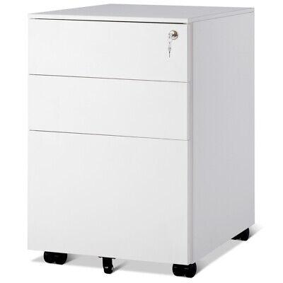 3 Drawer File Storage Cabinet Office Organizer Pedestal Under Desk Lockable