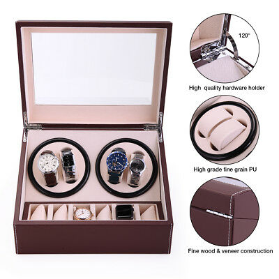 Brown Leather Watch Winder Storage Auto Display Case Box 4+6 Automatic -