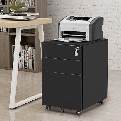 Lockable File Cabinet Mobile Metal Office File Cabinet With Three Drawers Black