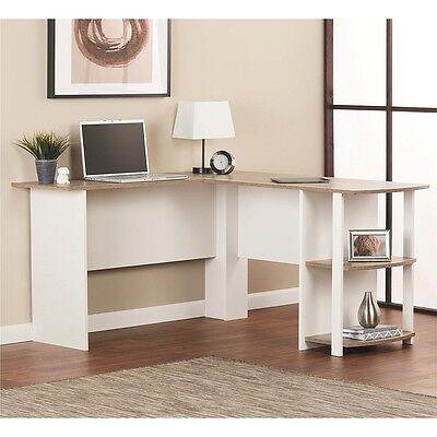 White Computer Corner L-shaped Desk Home Office Student Workstation Furniture