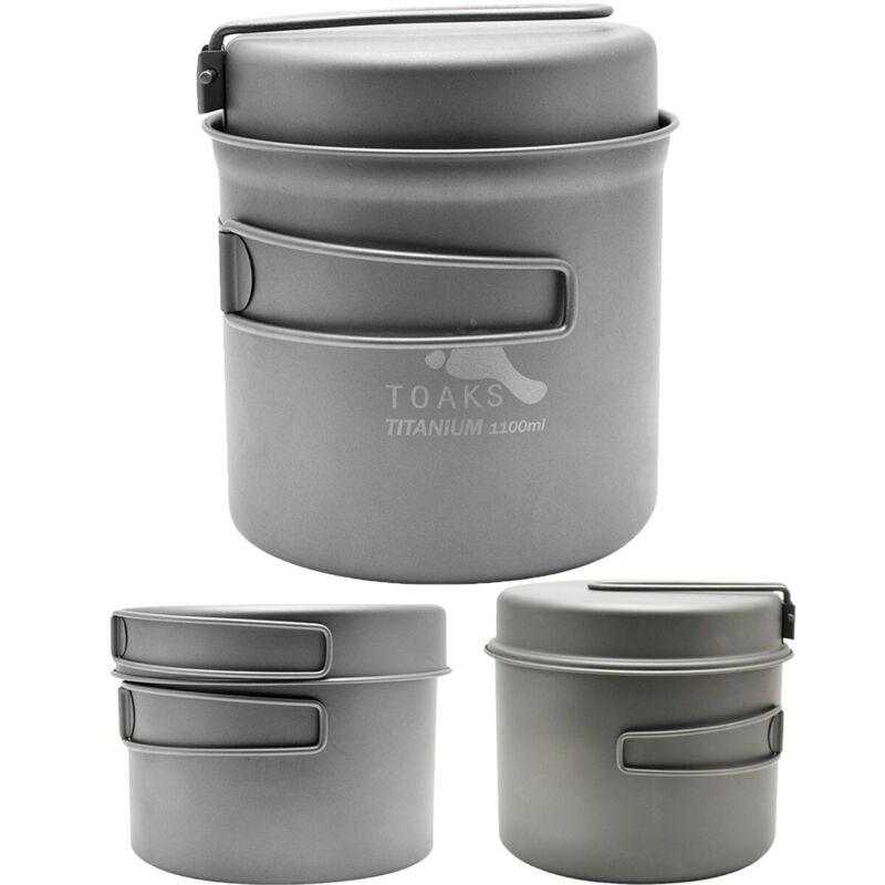 TOAKS Titanium Outdoor Camping Cook Pot with Pan and Foldable Handles