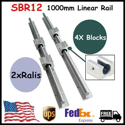 Sbr12-1000mm 12mm Linear Slide Rail Guideway Shaft Rod 4x Sbr12uu Block Cnc