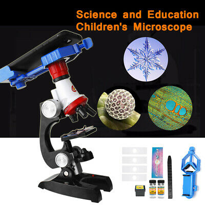 Kids 100x 400x 1200x Zoom Illuminated Monocular Plastic Biological Microscope
