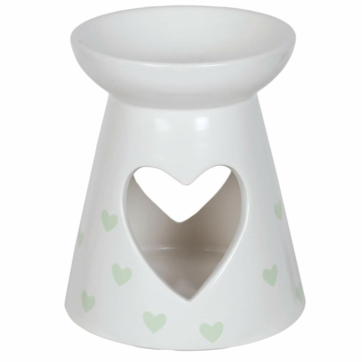 Aroma Accessories Green Hearts Pattern Ceramic Wax Melt Burner 13cm high