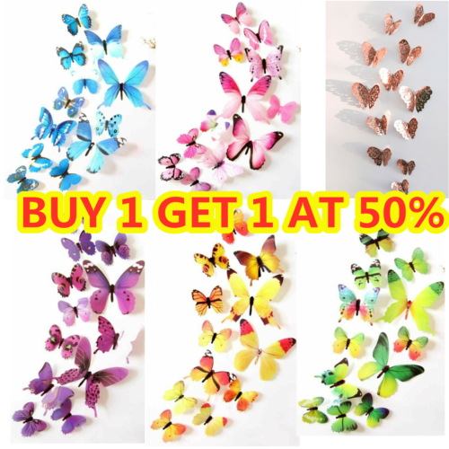 Home Decoration - 12pcs 3D Butterfly Wall Art Decal Stickers Magnet Mural Home Room Decoration DIY