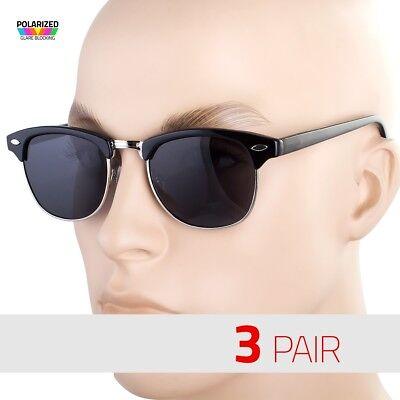3 Paar Klassisch Vintage Polarized Halber Rahmen Retro Sonnenbrille Schwarz C