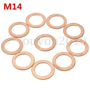 10x M14 14mm Motorcycle ATV Brake Fuel Banjo Seal Copper Crush Washer Flat Ring