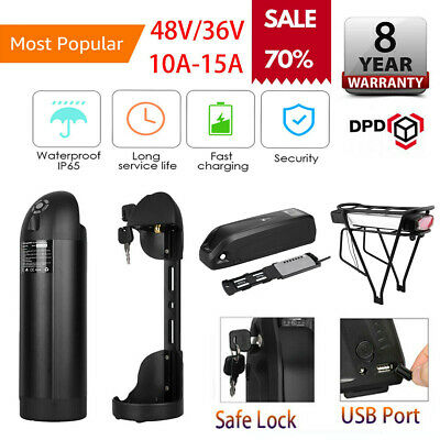 36V/48V E-Bike Battery Electric Bike Li-ion Pack Lockable with USB Charging Port